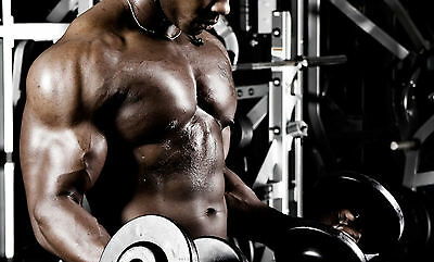 Framed Print - Muscular Man Working Out (Picture Poster Bodybuilding Fitness Gym