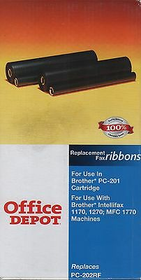 Office Depot 775-191, 2 Replacement Fax Ribbon(PC-202RF) For Brother PC-201, NEW