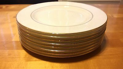 Lenox White Debut Collection Hannah Gold Bone China Salad Plate Set of 8 New!