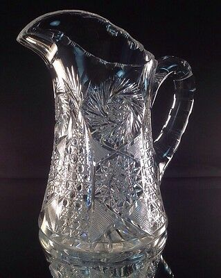 ABP American Brilliant Cut Glass Gorgeous Well Cut Pitcher Perfect Handle