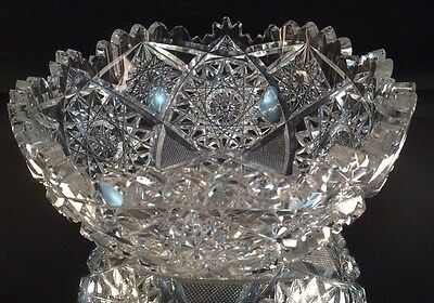 ABP American Brilliant Cut Glass Bowl With Nearly Perfect Teeth Fine Cutting