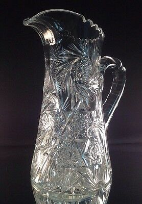 American Brilliant Cut Glass Lemonade Pitcher Very Nicely Done Cluster Design