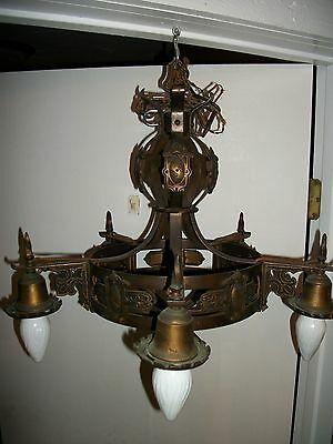 c1920 Brass & Iron Chandelier Spanish Revival / Tudor 5 Light Ceiling Fixture