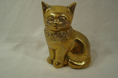 BRASS CAT FIGURE 5 INCHES TALL with Collar of Roses, NICE