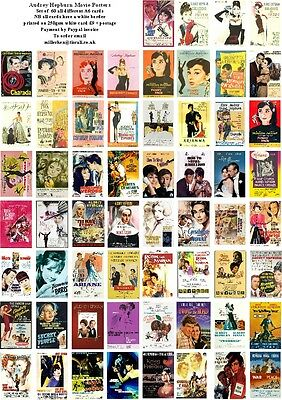 Audrey Hepburn  Movie Posters  -60 All Different A6 Artcards