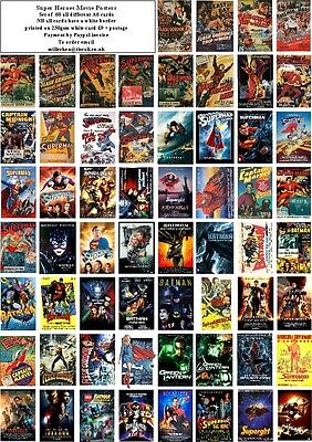 Superhero  Movie Posters  -60 All Different A6 Artcards