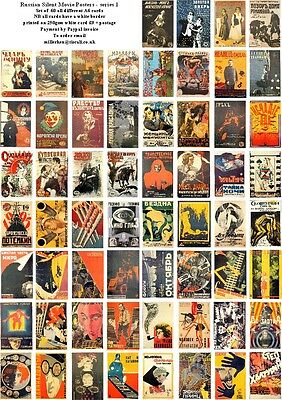 Russian Silent  Movie Posters  -60 All Different A6 Artcards