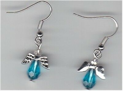 """Pair of """"Angel"""" Blue Crystal Dangling Earrings with Silver Wires"""
