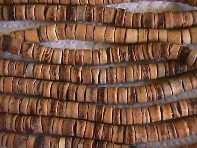 """Tiger Coco Wood Heishi Rondelle Beads 16""""  3mm  x 8mm"""