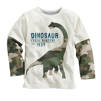 Kids Boys 100% Cotton long sleeve Dinosaur Tee Tops T-Shirts Baby Toddler 18M-6T