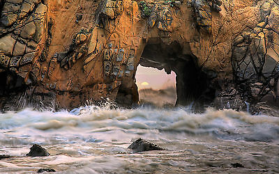 Framed Print - Ocean Waves Blasting through a Cave (Picture Poster Sea Beach Art