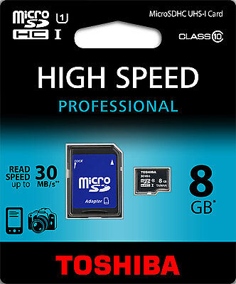 Toshiba 8Gb Carte Mémoire Micro Sdhc 8Go Classe 10 Memory Card 30Mb/s