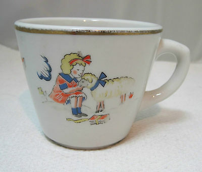 Antique Ironstone Children's Shenango Mary Had a Little Lamb Cup T27