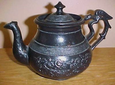 ENGLISH 18THC. Staffordshire Black WARE TEAPOT SIGNED