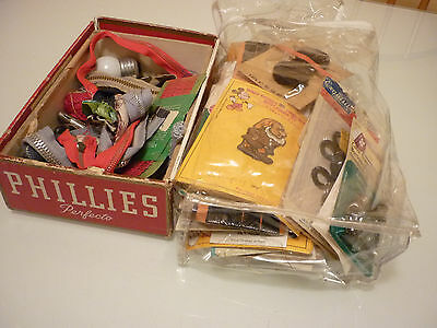 Vintage Sewing Lot - Zippers Disney Appliques Hardware Fasteners - Junk Drawer