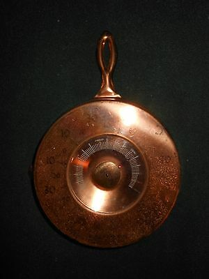 1950's Copper Skillet Fryng Pan Wall Thermometer Souvenir