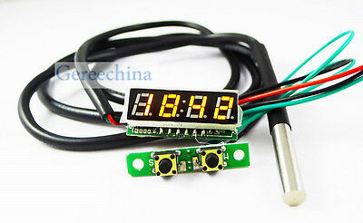 """0.28"""" Yellow LED 3in1 Digital Probe thermometer Car Clock/Voltmeter Time/Voltage"""