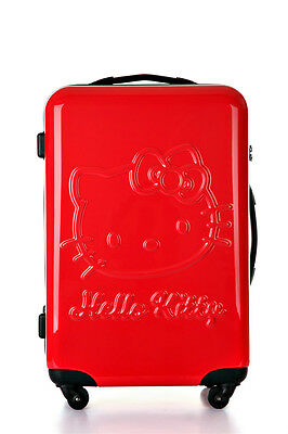 """New Cute Hello Kitty Luggage Bag Trolley Baggage Roller 20"""" Red"""