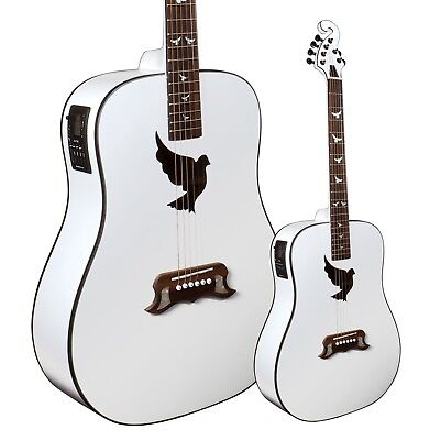 Lindo White Dove Solid Spruce Electro Acoustic Guitar with Preamp / Tuner LCD