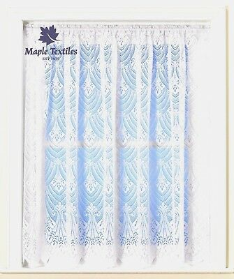 Roma Lace Brillant White  Fan Scallop Hem Luxury Lace Net Curtain Free Postage