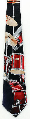 Red Drum Set Mens Necktie Drums Drummer Musical Instrument Music Gift Tie New
