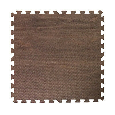 96 ft walnut dark wood grain interlocking foam puzzle tiles mat puzzle flooring