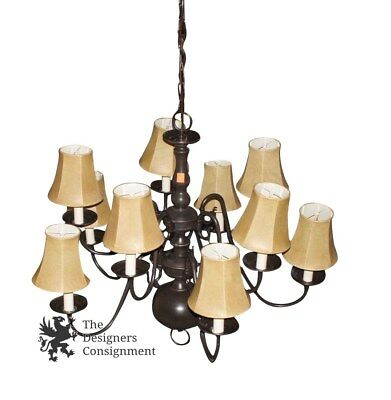 Beautiful Vintage Wrought Iron 2 Tier 10 Arm Chandelier Decorative Contemporary