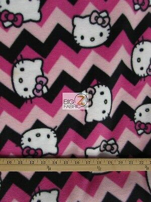 "Zig Zag Hello Kitty By Springs Creative Fleece Print Fabric 60"" Width 835"