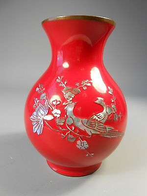 Fine Japan Japanese Red Lacquer Vase w/ Mother of Pearl Phoenix Decor ca. 20th c