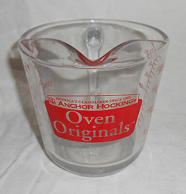 Anchor Hocking #498 OVEN ORIGINALS 2 Cup Glass Measuring Cup