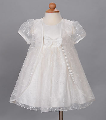 New Baby Christening Wedding Party Dress and Cape White Ivory 3 6 9 12 18 Month