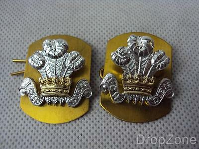 NEW Pair of British Military Royal Regiment of Wales RRW Collar Badges / Dogs