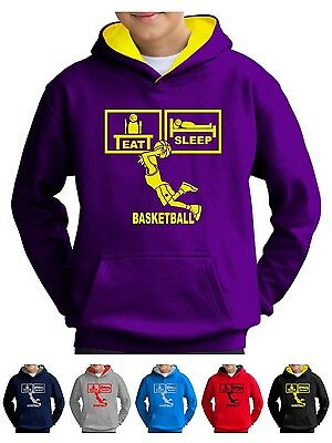 Eat Sleep Basketball Hoodie Kids Shorts Hoody Top Hoop Vest Net Ball Boys Girls