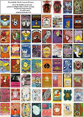 Psychedelic Rock Posters- 60 All Different A6 Art Cards