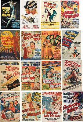 MUSICAL FILM POSTERS 1940s-60 ALL DIFFERENT A6 ARTCARDS