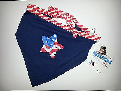Red, White, & True (Blue), Dog Bandana - Star Shaped Flag - M/L - New with Tags