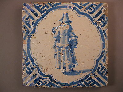 Antique Dutch Tile woman with bird very rare 17th century - free shipping