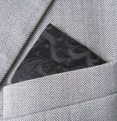 SUPERNOVA Black Tonal Handwoven Silk Paisley Pocket Square Handkerchief Mod