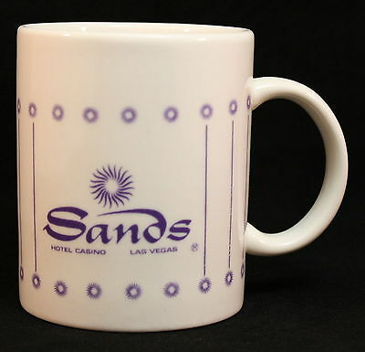 SANDS Hotel Casino Las Vegas Coffee Cup (EUC) Purple & White Now Closed Vintage