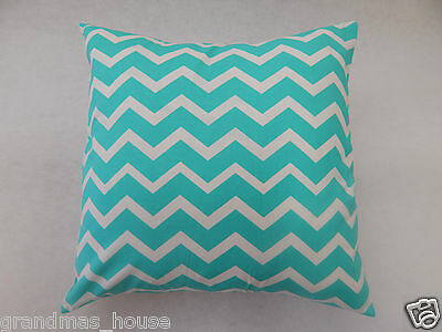 Jade Aqua Chevron Cushion Cover - 100% Cotton  40cm x 40cm Perfect Gift!!
