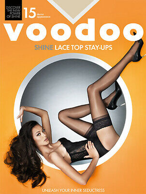 Voodoo Shine Lace Top Stay Up Stockings 15 Denier Luxurious Sheer H30440