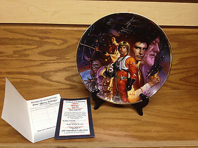 """Star Wars Trilogy Collectors 9"""" Plate by Hamilton with COA Serial#0135k"""