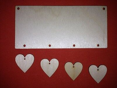 sets of PLAQUE 15 x 7  & 4 HEARTS PLAIN BLANK UNPAINTED WOODEN HANGING TAG