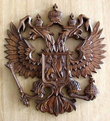 Russia Russian Coat of Arms Wall Mount Hand Made Wood Carved Souvenir Gift