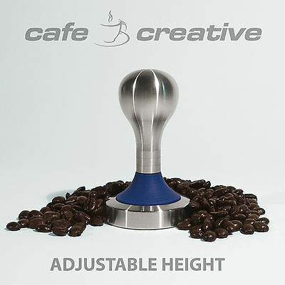 Coffee Tamper, Stainless Steel, 58mm base, Blaze Blue, Crema