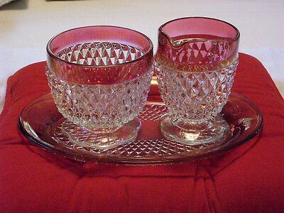 KINGS CROWN  SUGAR CREAMER SET SERVING DISH, DIAMOND POINT WITH DEEP RED COLOR.