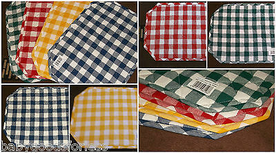 "COTTON CHECKED QUILTED PLACEMATS 43cmX 31cm 17.25""X12.5""GREEN BLUE YELLOW RED"