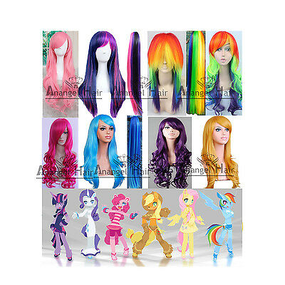 My Little Pony Rainbow Dash Wig Fluttershy Twilight Applejack Synthetic Hair