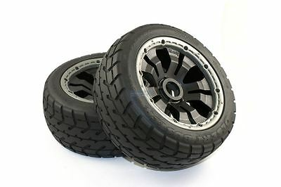 Road Tyre Buggy Wheels Black Poison Rims Front Pair Fits KM HPI Baja Buggy 1/5th