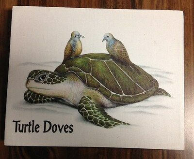 """10"""" X 8"""" X 1 1/2"""" TURTLE DOVES CANVAS ON WOODEN FRAME NEW"""